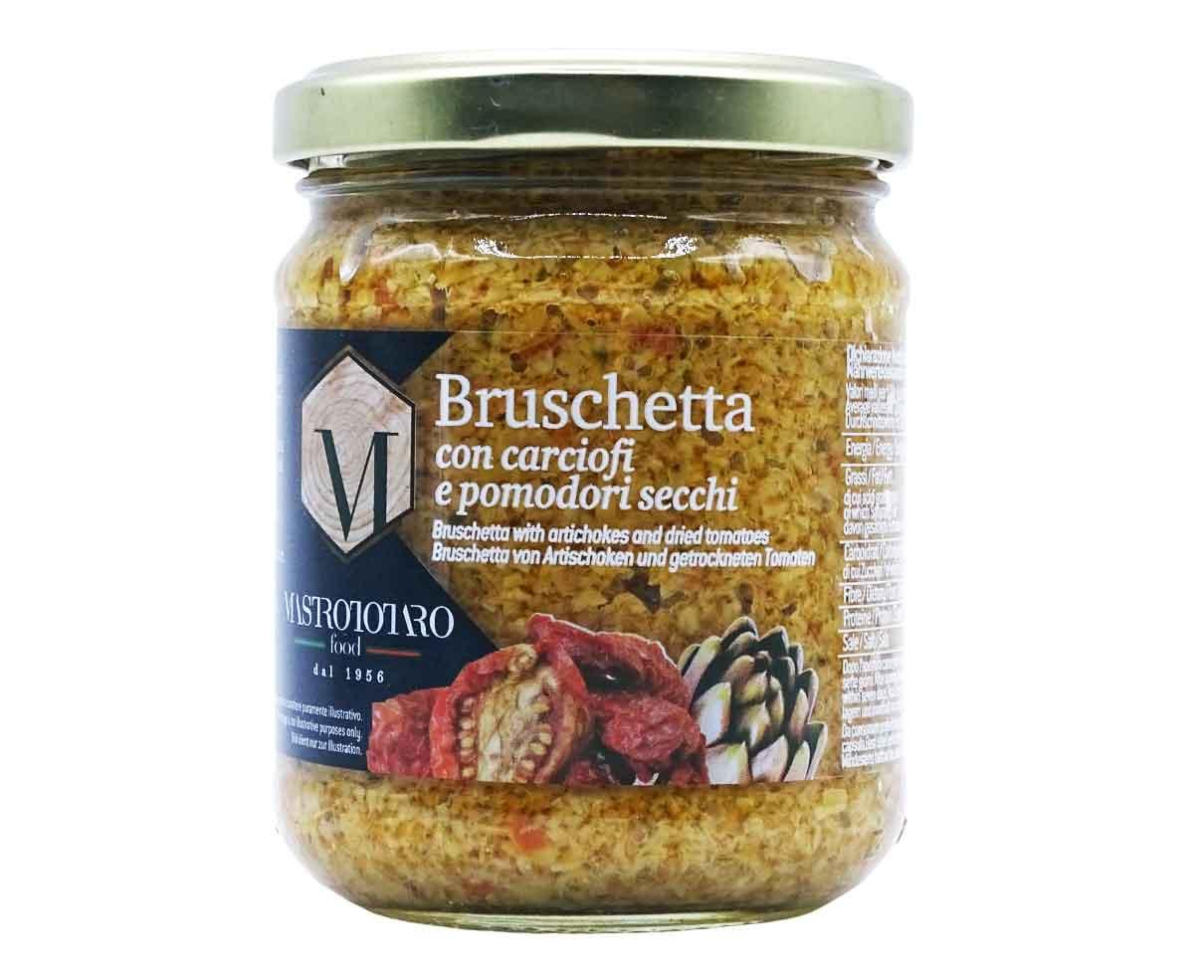 Bruschetta-con-carciofi-e-pomodori-secchi-Mastrototaro-180gr