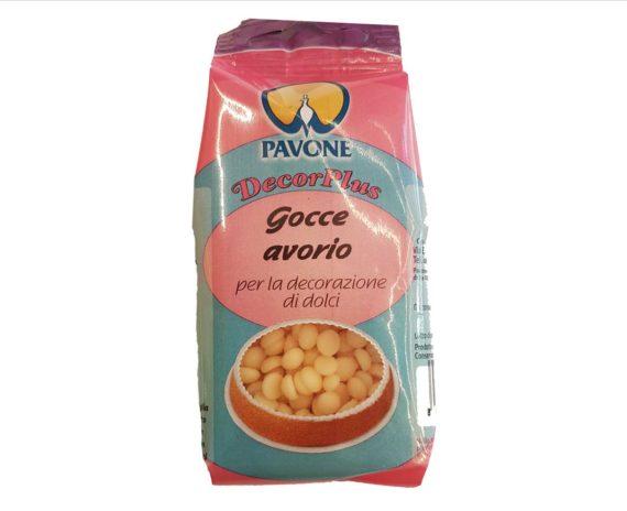 """Gocce """"avorio"""" di cioccolata bianca Pavone 50gr"""