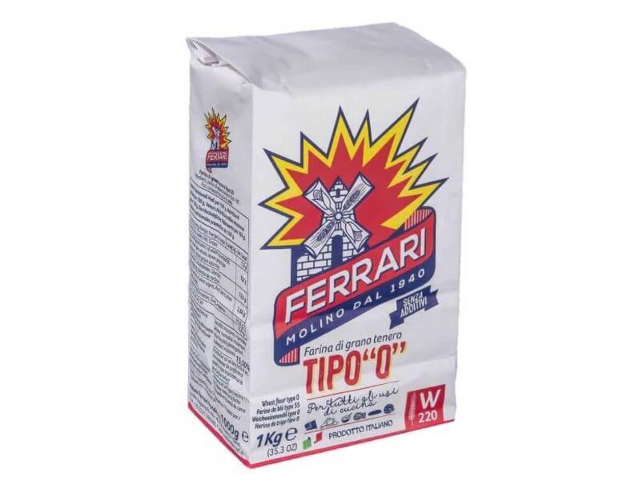 """Farina tipo """"0"""" di grano tenero molino Ferrari 1 kg"""