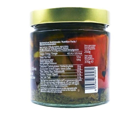 Peperoni grigliati in olio evo Mastrototaro 370gr