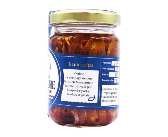 Acciughe in olio di oliva con peperoncino 150gr