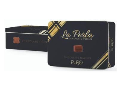 """Latta """"Puro nero"""" di tartufi di cioccolato fondente La perla 200gr"""