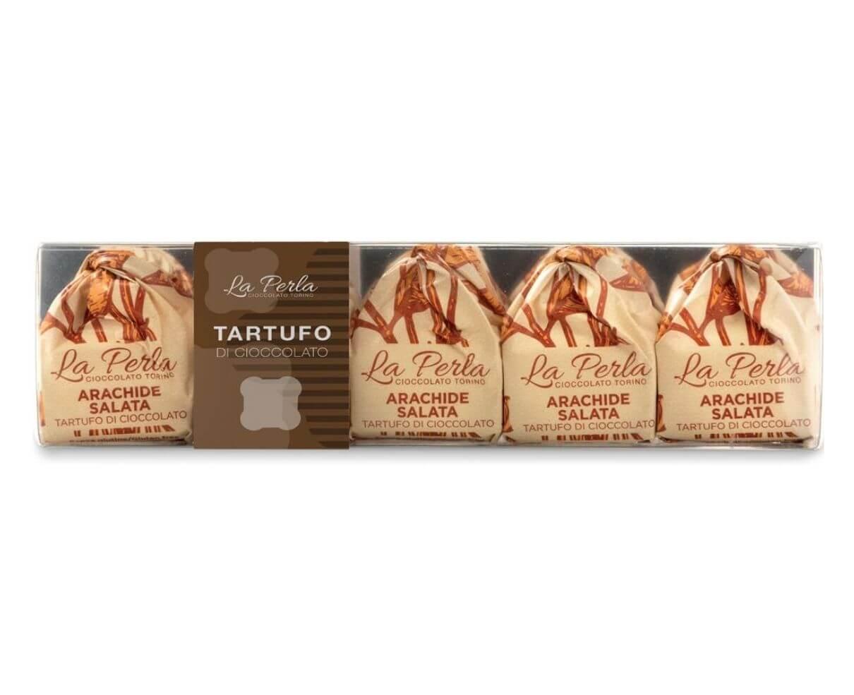 Pocket 5 tartufi di cioccolato bianco con arachide salata La perla 75gr