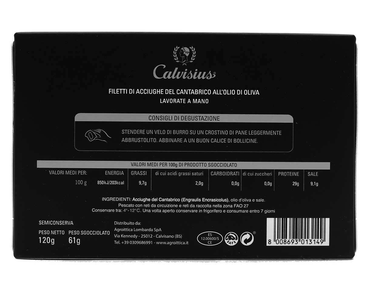 Filetti di acciughe del Cantabrico all'olio d'oliva Calvisius Caviar 120gr