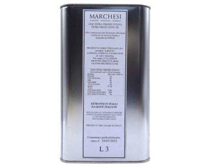 Olio extravergine d'oliva della Sabina DOP Marchesi 3lt-retro