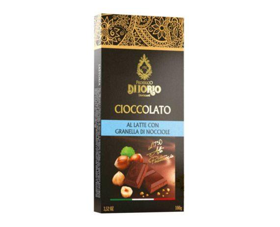 Cioccolato al latte con granella di nocciole Di Iorio 100gr