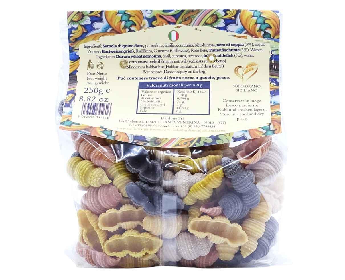 Conchiglie rigate pasta a 5 colori Daidone 250gr