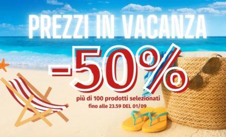 Prezzi in vacanza -50% su più di 100 prodotti