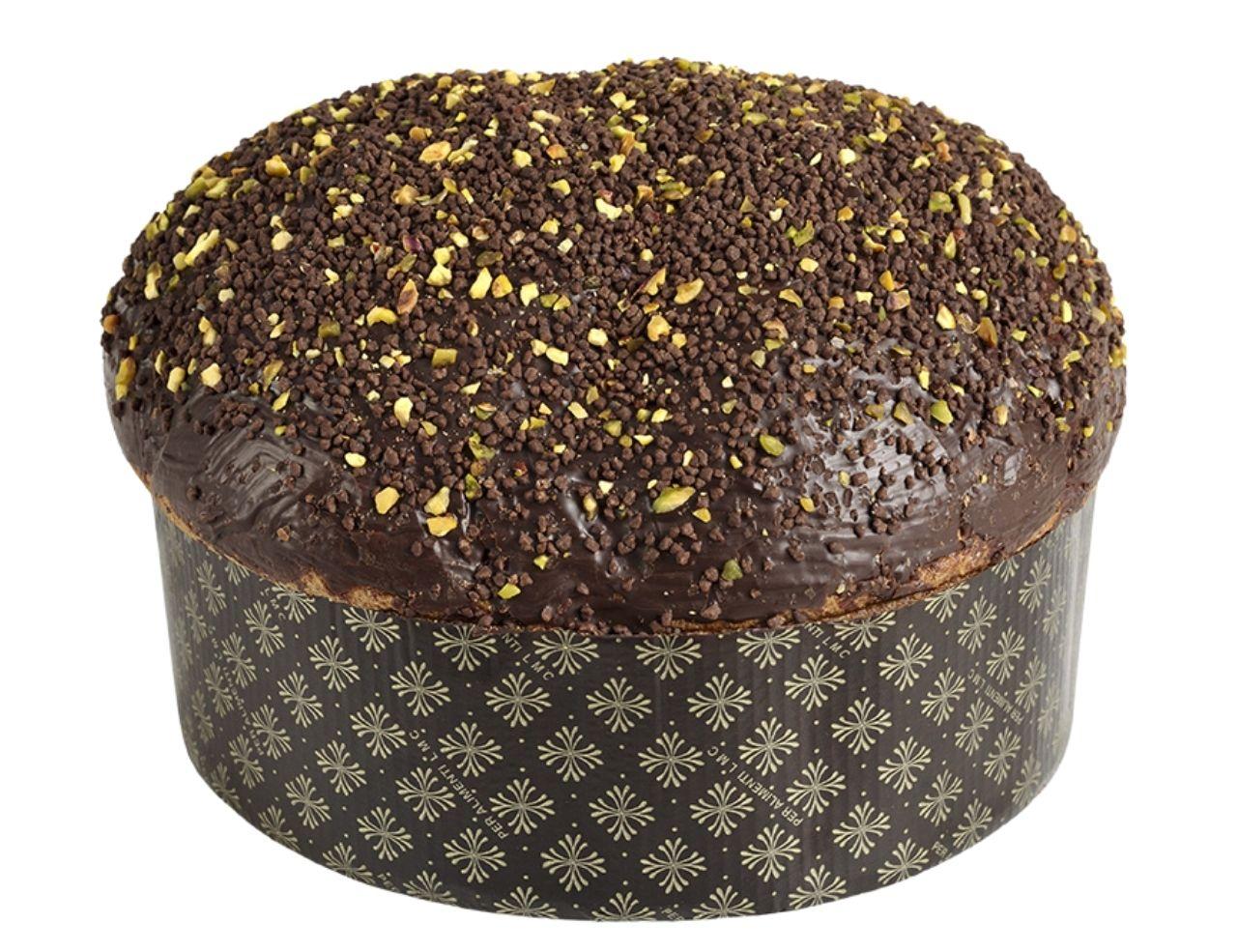 Panettone artigianale al pistacchio di bronte DOP ricoperto al cioccolato fondente 1kg